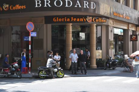Frank and son outside Brodards