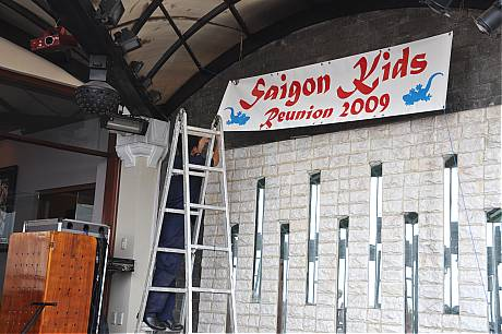 Raising Saigon Kids Banner at Majestic March 11, 2009