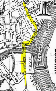 Bar Row: This picture shows the area of Cholon Frank mentions. The first 3 blocks of Trinh Minh street (hi-lited in yellow) down to the Y were a continuous row of bars, cafes, tattoo parlors and assorted other houses of ill-repute. Being located directly across from the wharf with the merchant ships coming and going from Saigon made for good business from the ship crews.
