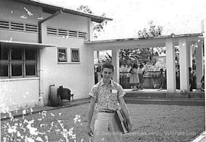David Henry in one of the court yards between buildings at American Community School Saigon. Circa 1962. Ken Yeager Collection.