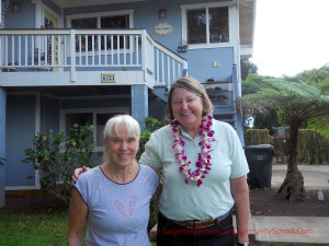 Sarah (Bush) Rogers and Lynn( McIntrye) Riley visiting on Kauai. Circa May 2013. Sarah (Bush) Rogers Collection.