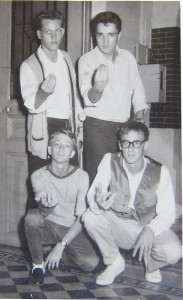 The Clods. Left to right. Front Mike Parker and Rique Turner. Standing Bob Layson and Paul Christensen. Richard Turner collection. Saigon circa 1960.