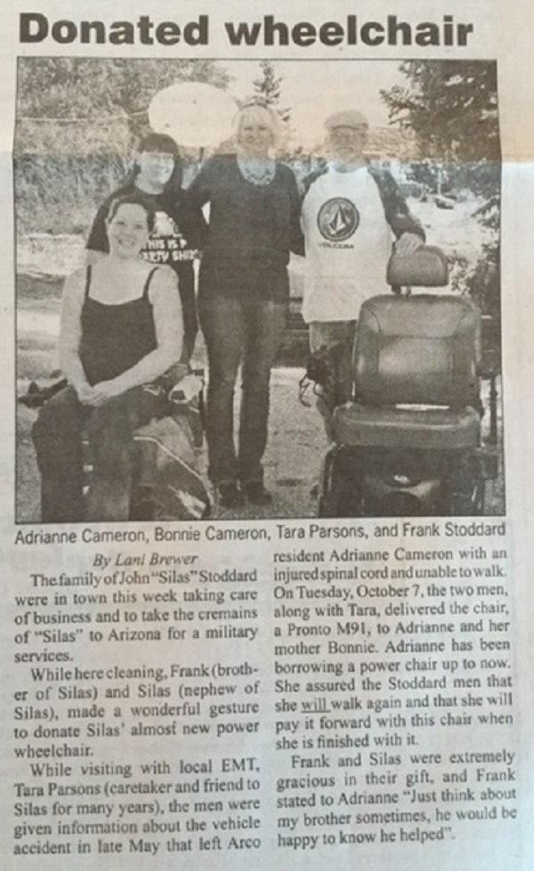 Frank and Silas Stoddard Donate Deceased Brothers Wheel Chair